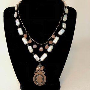 Vintage medal 1914, pearl + pink stone, stunner!